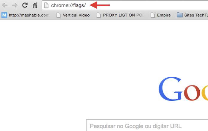 Digitando o endereço chrome://flags/ na barra de endereços do Chrome (Foto: Reprodução/Marvin Costa)