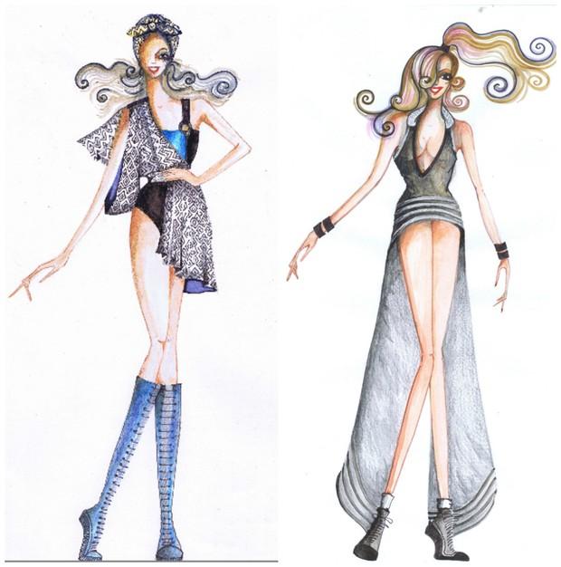 Croquis das fantasias que Alinne Rosa usará no carnaval 2015 (Foto: Divulgação)