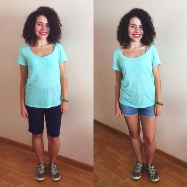 À esquerda, Lúcia Sierra mostra como deve se vestir para ir à escola. À esquerda, ela escolhe o traje que gostaria de usar, mas não tem permissão. (Foto: Arquivo pessoal)