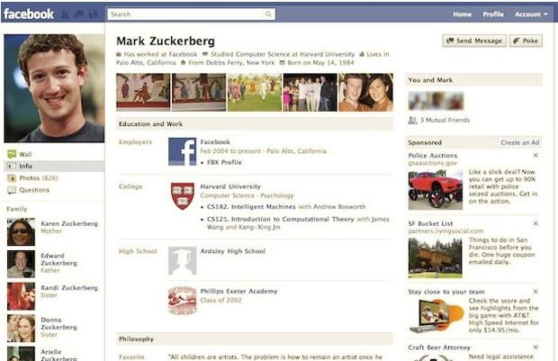 Facebook em 2010 (Foto: Reprodução/Wayback Machine)
