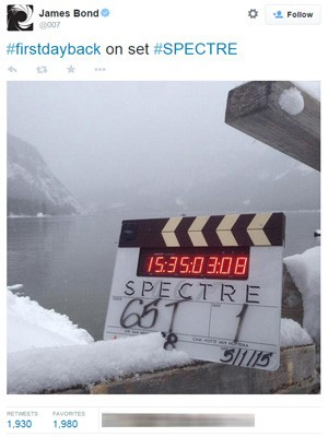 Produção do filme 'Spectre' divulgou foto do set de filmagens (Foto: Reprodução/Twitter)