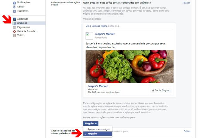 Editando a privacidade de ações combinadas com anúncios no Facebook (Foto: Reprodução/Lívia Dâmaso)