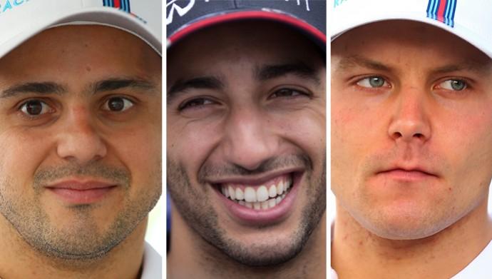montagem Felipe Massa, Ricciardo e Bottas (Foto: Montagem sobre foto da AP)