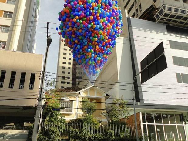 """Fotomontagem faz referência ao filme """"Up"""" na Região Cento-Sul de Belo Horizonte (Foto: Arquivo Pessoal/ Fernando Goes)"""