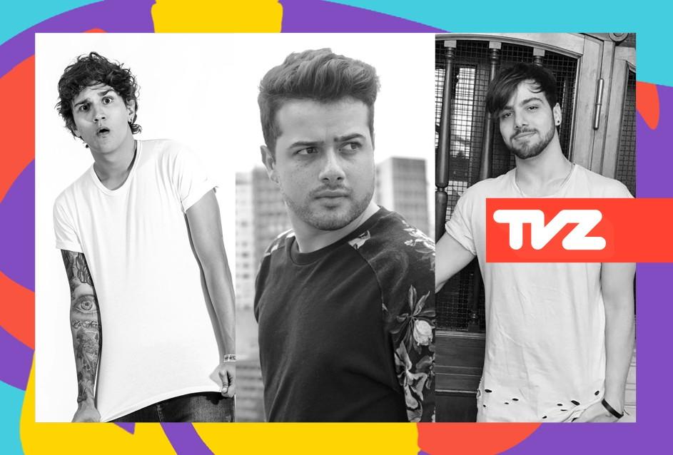 T3ddy, Christian Figueiredo e Rafa apresentam o TVZ desta segunda (5) (Foto: Divulgao/Multishow)
