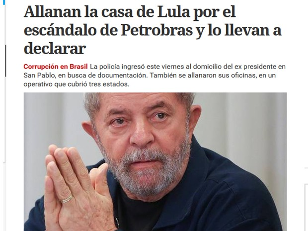 Site do Clarín destaca ida da PF na casa de Lula em São Bernardo; notícia é manchete do site  (Foto: Reprodução)