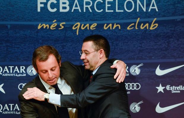 Sandro Rosell e Josep Maria Bartomeu, ex-presidente e presidente do Barcelona (Foto: Getty Images)