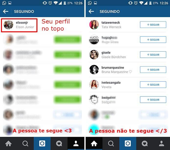 Instagram mostra se a pessoa te segue de volta no topo da lista (Foto: Reprodução/Elson de Souza)