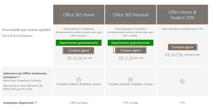 be4b200d0 Selecione o tipo de pacote que deseja comprar do Office 2016 (Foto   Reprodução
