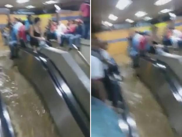 Escadas rolantes pareciam cachoeira em estação de metrô em Caracas, na Venezuela (Foto: Reprodução/YouTube/Diana Valbuena)