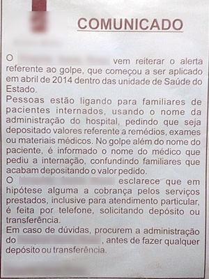 Comunicado foi colocado em elevadores de hospital particular em Cuiabá (Foto: Assessoria/ Hospital Santa Rosa)