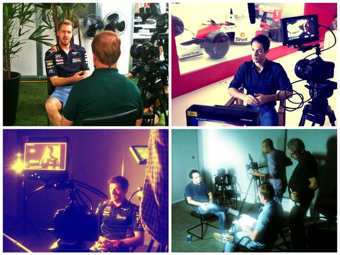 Vettel, Bruno Senna, Webber e Massa na gravação do documentário sobre Ayrton Senna (Foto: Alfredo Bokel)