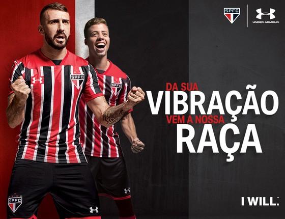 Under Armour e São Paulo. A fornecedora assinou com o clube no início de 2014 e tem contrato até o fim de 2019 (Foto: Divulgação)