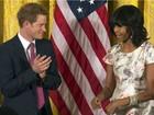 Michelle Obama recebe príncipe Harry na Casa Branca