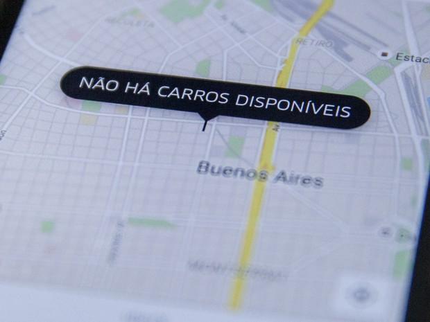 Tela do aplicativo de celular Uber em Buenos Aires, na Argentina (Foto: Marcelo Brandt/G1)