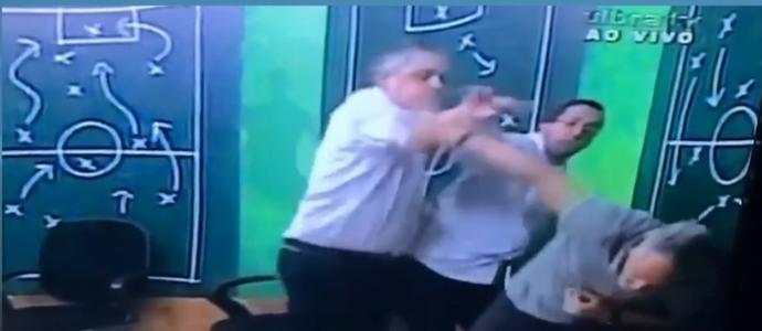 Ex-presidente do Inter Fernando Miranda agride jornalista (Foto: Reprodução)