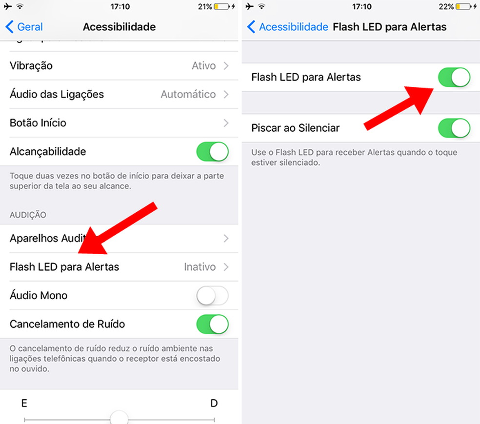 iPhone (iOS): ative notificações no flash (Foto: Reprodução/Paulo Alves)