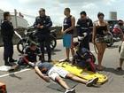 Motociclista sofre acidente em elevado, em Belém