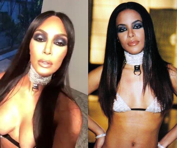 Kim Kardashian / Aaliyah (Foto: Reprodução / Redes Sociais)