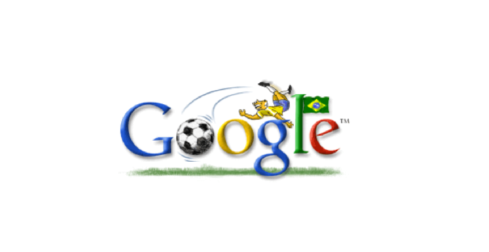 Doodle da Copa de 2002 para o Brasil; com chute de bicicleta  (Foto: Reprodução/Google)