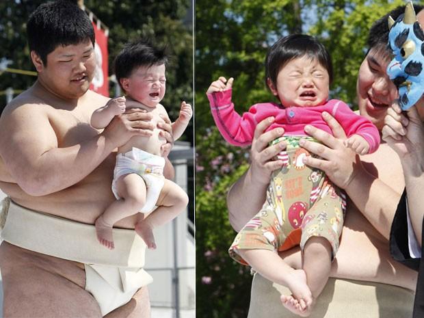 Em 2010, cerca de 80 bebês foram reunidos no templo Sensoji, em Tóquio, no domingo (25), com um único intuito: chorar aos berros. O evento, realizado anualmente, é considerado uma tradição em Tóquio. Segundo a crença local, ao chorar, o bebê está atraindo (Foto: AP)