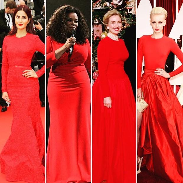 Salma Hayek, Oprah, Hillary Clinton: vestido vermelho (Foto: Reprodução)