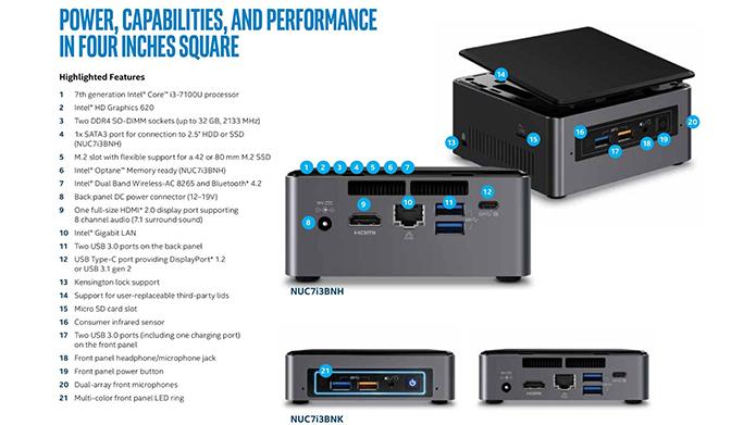 Embora compacto, NUC conta com arsenal de interfaces e recursos (Foto: Divulgação/Intel)