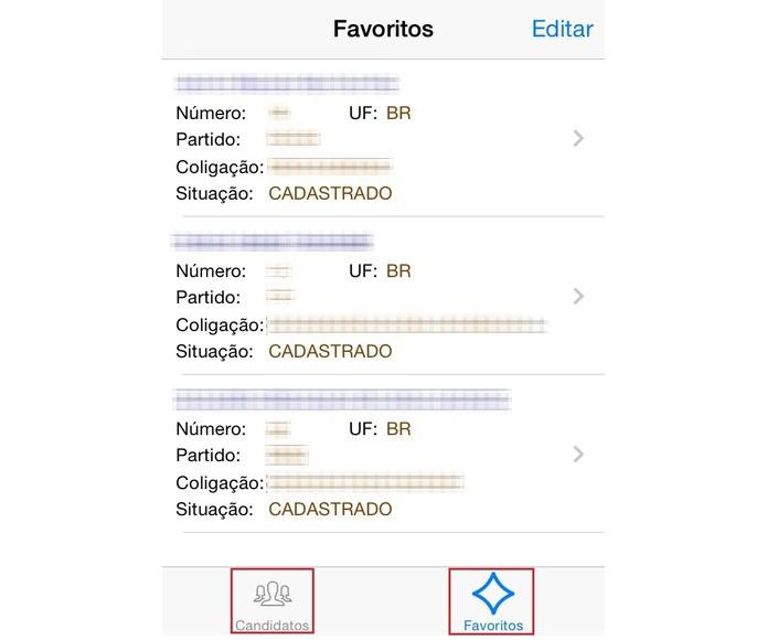 """Use os botões """"Candidatos"""" e """"Favoritos"""", na parte inferior da tela, para alternar as visualizações (Foto: Reprodução/Paulo Finotti)"""