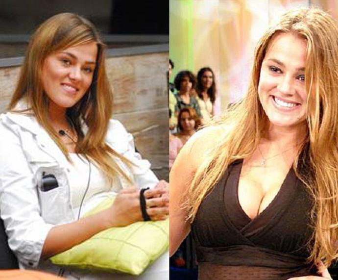 Bruna, do BBB 7, antes de engordar e no dia que deixou o confinamento com alguns quilos a mais (Foto: TV Globo)