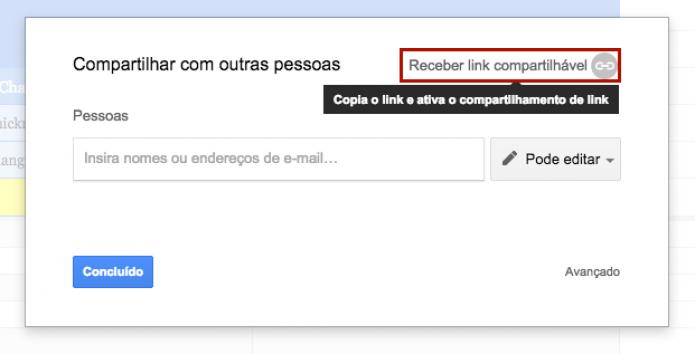 Clique sobre Receber link compartilhável (Foto: Reprodução: Paulo Finotti)