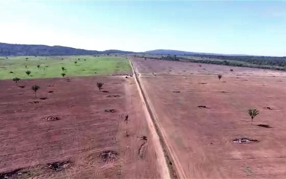 Imagens feitas por drone mostram desmatamento ilegal no Parque Estadual Serra de Ricardo Franco (Foto: Reprodução)