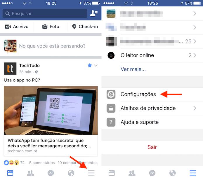 Caminho para as configurações do Facebook para iPhone (Foto: Reprodução/Marvin Costa) (Foto: Caminho para as configurações do Facebook para iPhone (Foto: Reprodução/Marvin Costa))