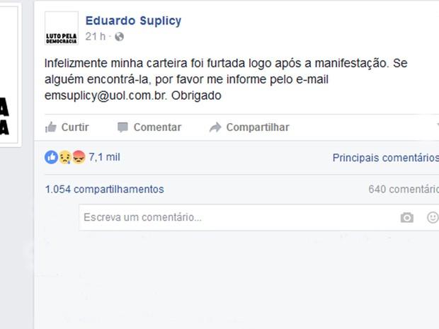 Em post no Facebook, ex-senador pediu ajuda na busca por carteira furtada (Foto: Reprodução/Facebook)