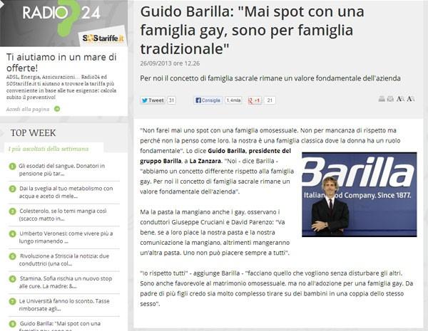 Em entrevista à rádio italiana, presidente da Barilla diz que não faria anúncio com casal gay. (Foto: Reprodução/radio 24)