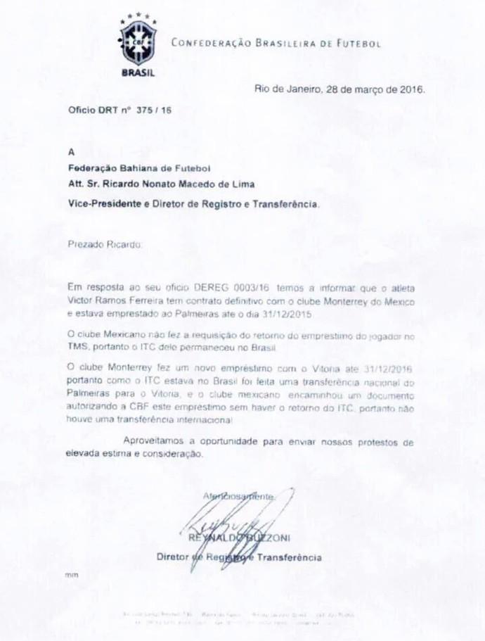 Victor Ramos; Vitória; CBF (Foto: Reprodução/Jornal Correio*)