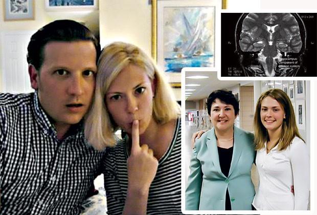 Susannah em recuperação ao lado do namorado, Stephen; o eletroencefalograma que mostrou inflamação cerebral; a jovem ao lado da mãe no hospital (Foto: Acervo pessoal / Reprodução)