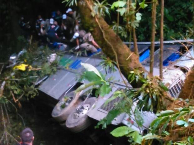 acidente de ônibus em campo alegre, serra dona francisca, mortos (Foto: Jean Mazzonetto/RBS TV)