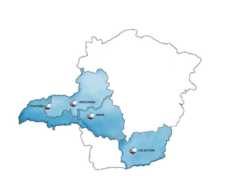 Mapa da área de cobertura da TV Integração (Foto: Reprodução)