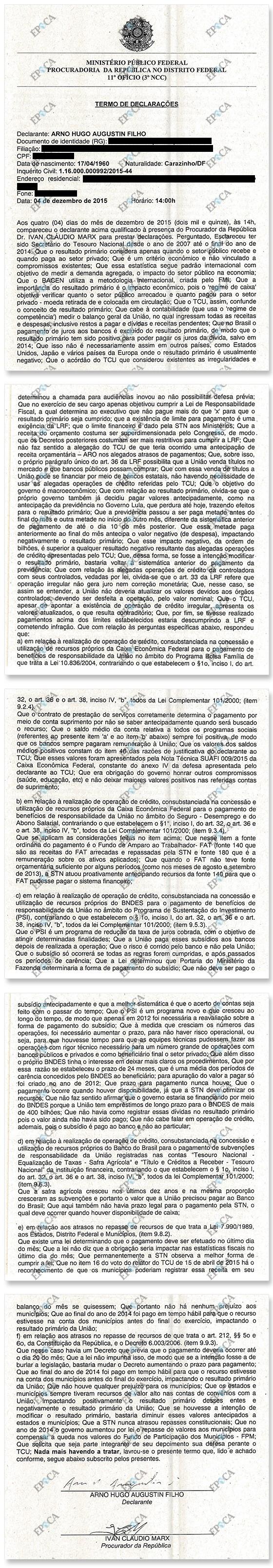 Depoimento de Arno Augustin (Foto: Revista ÉPOCA/Reprodução)