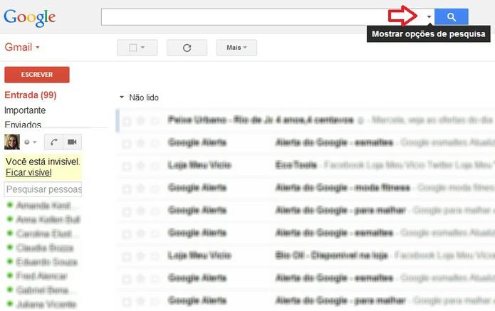 Botão de acesso à interface de criação de filtro no Gmail  (Foto:  Reprodução/ Marcela Vaz)