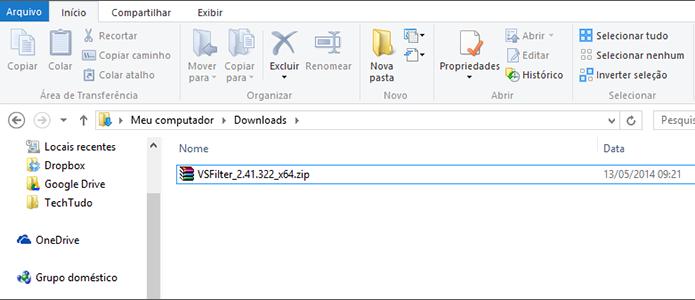O arquivo do DirectVobSub vem zipado (Foto: Reprodução/Paulo Alves)