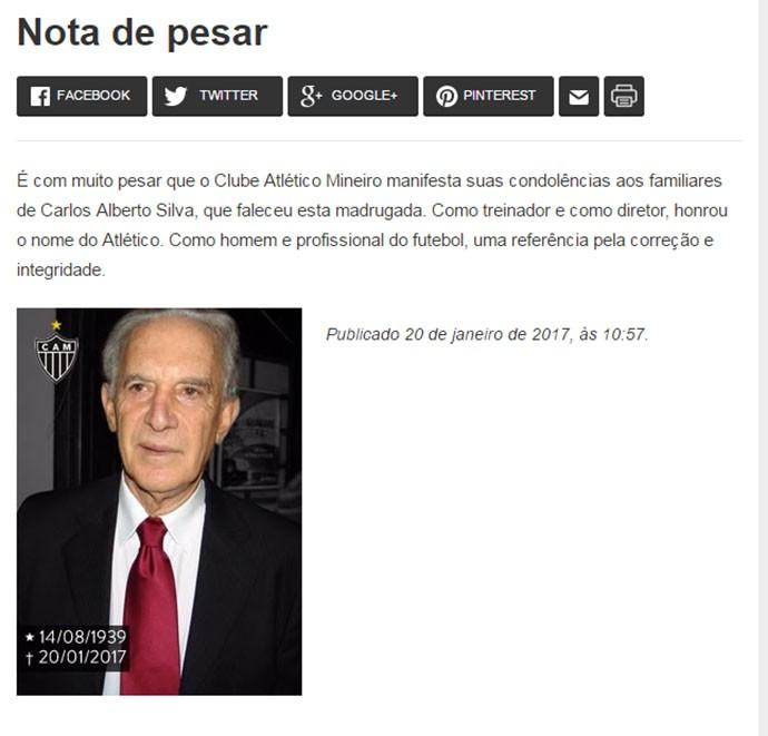 Homenagem do Atlético-MG para Carlos Alberto Silva (Foto: Site do Atlético-MG)