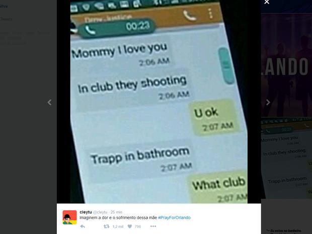 Imagem reproduz diálogo de uma das vítimas com sua mãe no momento do ataque em Orlando (Foto: Reprodução/Twitter)