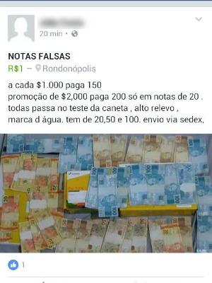 Post na internet anuncia venda de dinheiro falso  (Foto: Foto: Reprodução/Facebook)