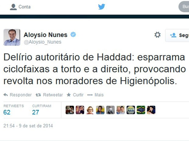 Post do senador Aloysio Nunes criticando a criação de ciclovias em São Paulo (Foto: Reprodução/Twitter)
