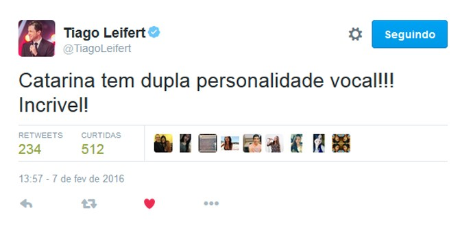 Tiago Leifert Tweet Catarina Estralioto The Voice Kids (Foto: Reprodução/ Redes Sociais)