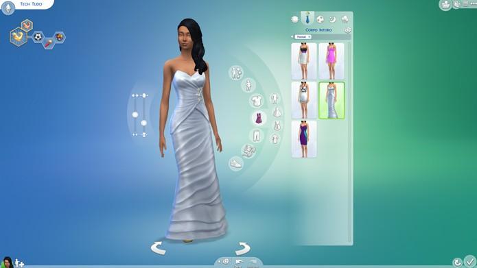 No menu lateral, escolha roupas e acessórios para seu Sim (Foto: Reprodução/Tais Carvalho)