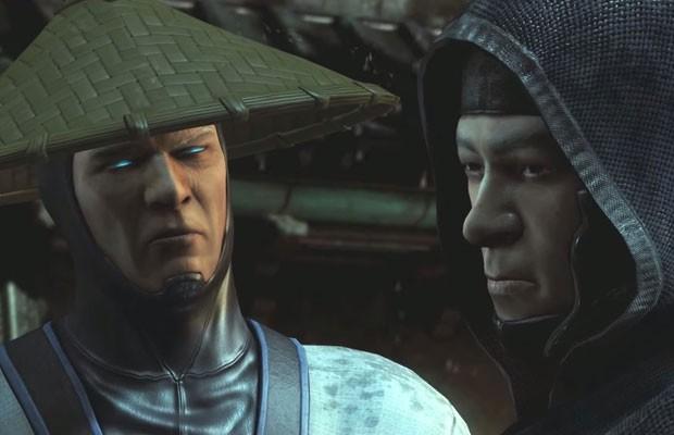 Imagem do game 'Mortal Kombat X' em que Raiden conversa com Kung Jin, personagem gay do jogo. (Foto: Reprodução/YouTube.com)