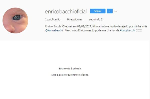 O instagram do bebê de Karina Bacchi (Foto: Reprodução/Instagram)