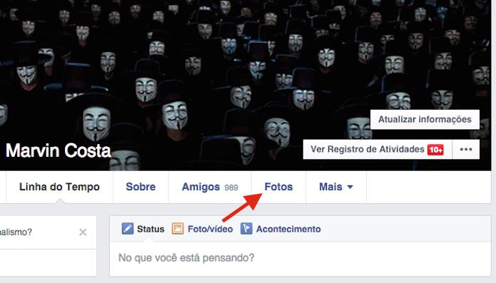 Acessando a página de fotos de um perfil no Facebook (Foto: Reprodução/Marvin Costa)